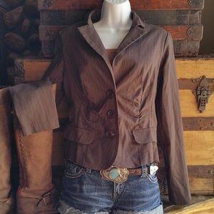 Candie's Brown Pinstripe Blazer Jacket